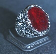 Low Price BEAUTIFUL TURKISH HANDMADE RUBY STERLING SILVER 925K MENS RING SIZE 12