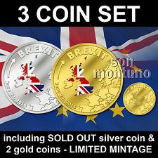 Best Price for BREXIT 3 COIN SET  SILVER  GOLD PROOF  JUNE 23 2016 Cook Islands  1 5 20