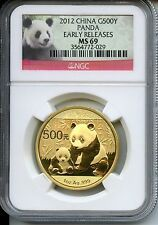 CHINA  PANDA 2012  NGC MS 69  500 YUAN  GOLD 1 OZ for Sale Online