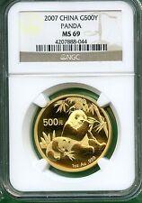 Bargain CHINA  PANDA 2007  NGC MS 69  500YUAN  GOLD 1 OZ