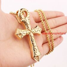 Cheap Price Heavy Mens Yellow Gold Plated Stainless Steel Cross Biker Pendant Box Necklace