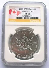 Canada 2013 Maple Leaf 5 Dollars NGC MS68 1oz Silver CoinBU Cheap