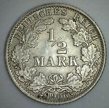 1906 J Silver German 12 Half Mark Germany Coin XF On Line