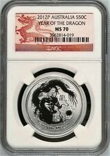 Cheapest New listing   Australia 2012P S50C 12 oz Silver Dragon NGC MS70  Coin Australia