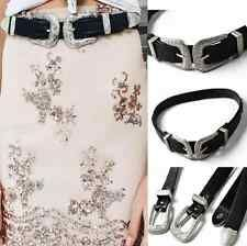 Discounted Fashion Women Boho Lady Vintage Metal Leather Double Buckle Waist Belt Waistband