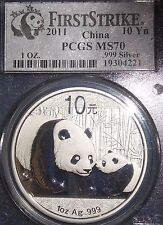 Bargain 2011 China Silver Panda 10 Yuan Coin First Strike 1oz 999 PCGS Graded MS70