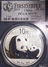 Bargain 2011 China Silver Panda 10 Yuan Coin First Strike 1oz 999 PCGS Graded MS70
