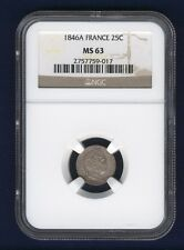 Best Savings for FRANCE  1846A  25 CENTIMES SILVER COIN UNCIRCULATED NGC CERTIFIED MS63