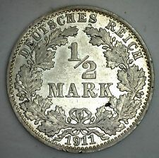 Deals For 1911 A Silver German 12 Half Mark Germany Coin AU