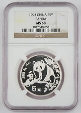 Best Price for 1993 China 12 Oz 999 Silver Panda 5 Yuan Coin NGC MS68 GEM BU