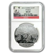SALE 2013 1 oz Silver Chinese Panda Coin  MS69 NGC  SKU 75740