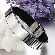 Cheap Price Unisex Mens Women Stainless Steel Black Leather Bracelet Bangle Wristband Cuff