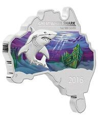 Price Comparisons Australia MAP SHAPED COIN SERIES 2016 Great White Shark 1 OZ SILVER proof COIN