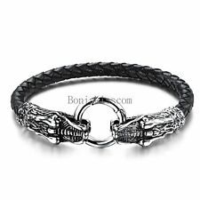 New listing   Mens Black Braided Leather Stainless Steel Dragon Head Cuff Bangle Bracelet Compare Prices