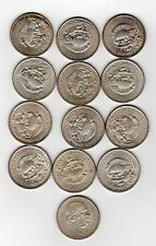 On Sale Lot of 13 Mexico 1 Peso Silver Coin 121947 one 1948