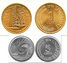 For Sale Singapore 1  5 Cents 2 Uncirculated Coin Set KM12