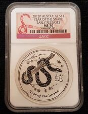 Get Cheap 2013 P Australia Year of the Snake 1 Silver 1 OZ Coin MS70 NGC Early Release