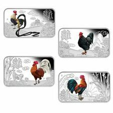 2017 YEAR OF THE ROOSTER LUNAR CALENDAR 1OZ SILVER PROOF 4COIN SET Rectangular Compare Prices