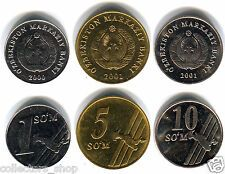 Low Price UZBEKISTAN Set of 3 coins 1 5 10 SOM SUM 20002001 UNC