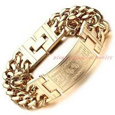 Get Rabate Fashion Jewelry 316L Stainless Steel Gold Tone Curb Chain Mens Bracelet 923mm
