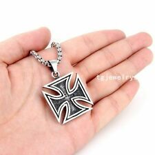Best Reviews New listing   New Mens Stainless Steel Black Silver Tone Iron Cross Pendant Necklace Chain 24