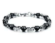 Best Price for New Mens bracelet stainless steel black ball silver byzantine link chain 78MM
