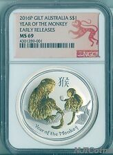 2016 P Australia GILDED Silver Lunar Year of the Monkey NGC MS 69 1 oz Coin ER Cheap