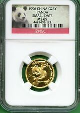 CHINA  1996 PANDA GOLD 14 OZ  25 YUAN  NGC MS 69  SMALL DATE for Sale