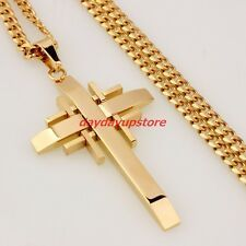 Best Price Men Chain 18K Gold Plated Curb Stainless Steel Cross PENDANT NECKLACE 236 4mm