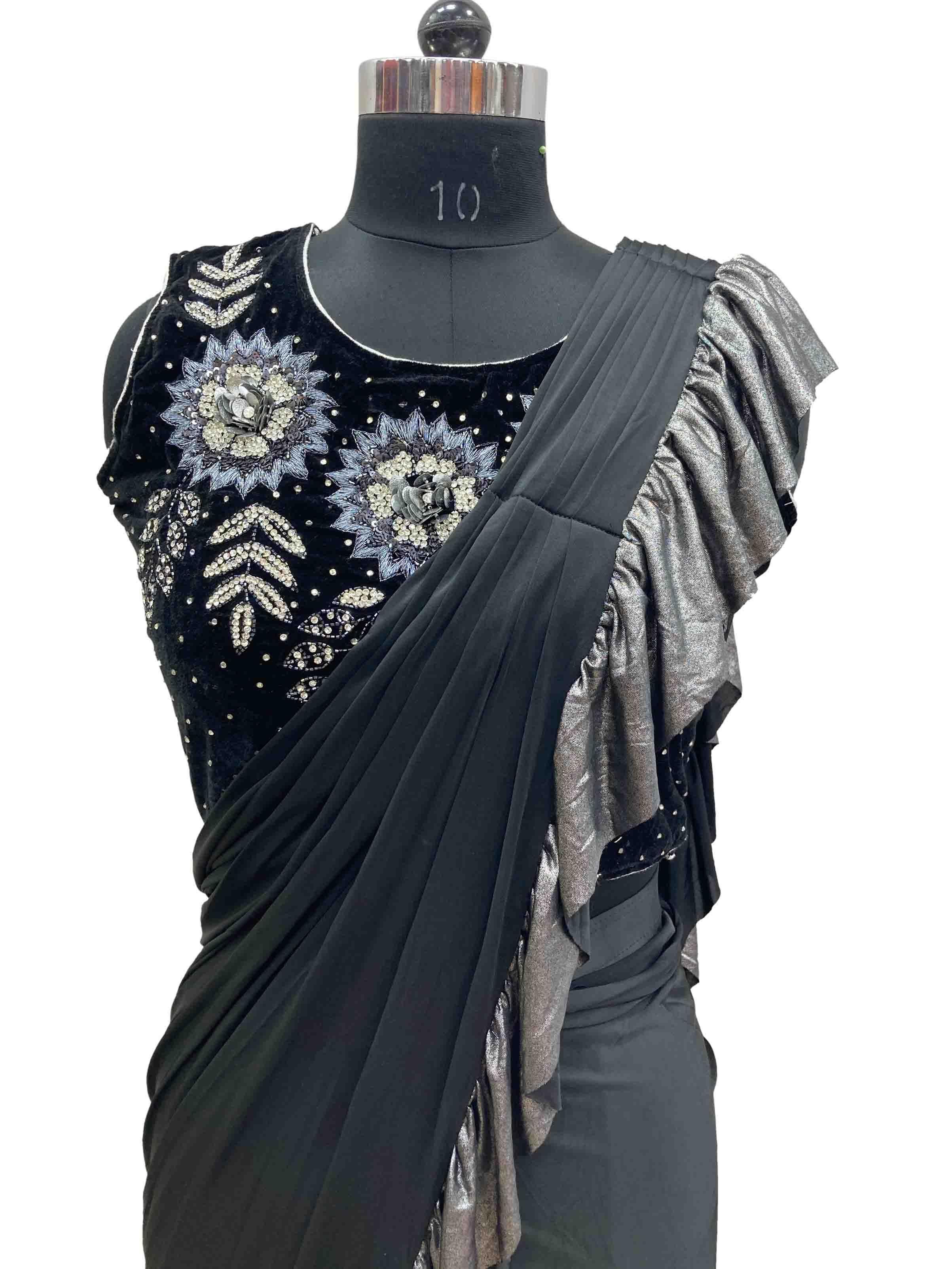 Latest designer drape sarees dr9327a
