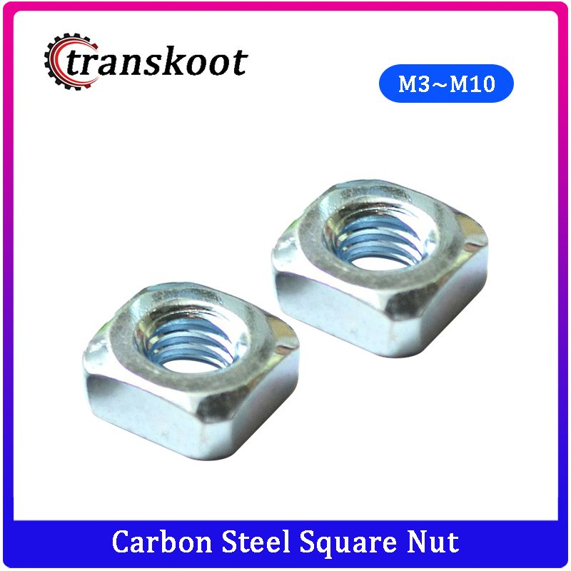 50Pcs DIN557 M3 M4 M5 M6 M8 M10 Carbon Steel Square Nut