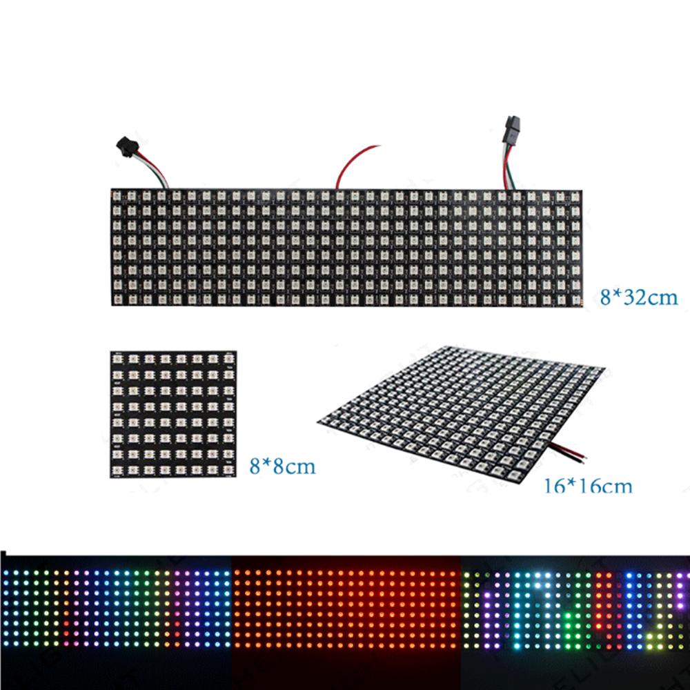 ws2812b led Pixels light strip 8x8 16x16 8x32 ws2812 leds Panel Pixel screen RGB Individually addressable strips address lamp 5V