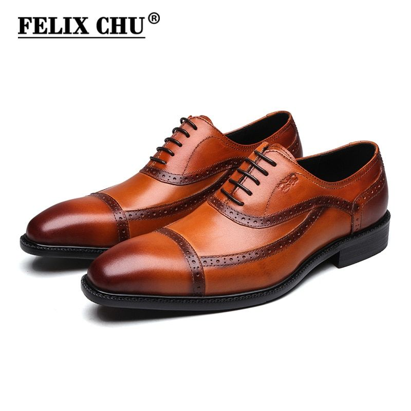 FELIX CHU Genuine Leather Mens Oxford Shoes Brown Black Lace Up Cap Toe Formal Brogue Man Office Party Dress Wedding Shoes