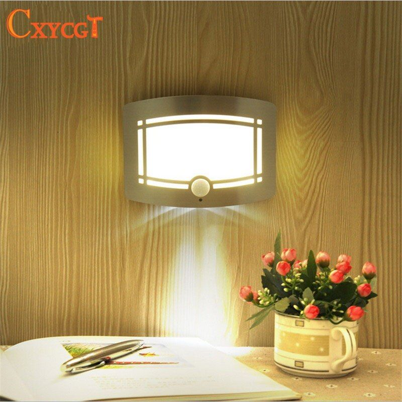 Wireless Infrared Motion Sensor Wall LED Night Light Novelty Battery Powered Porch Night Lamp Motion Sensor Light For Home