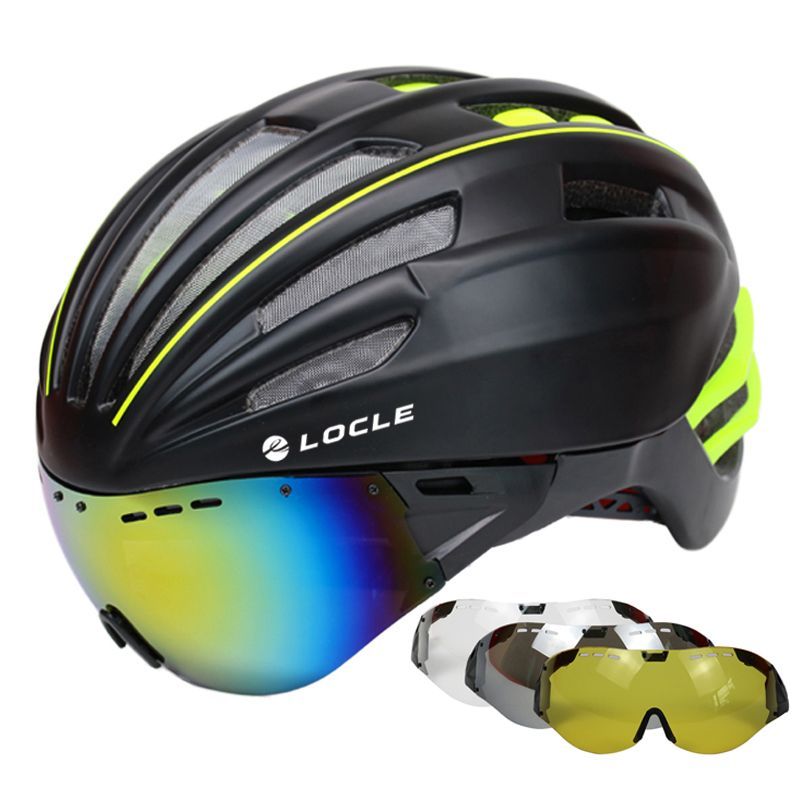 LOCLE Goggles Cycling Helmet Road Mountain MTB Bicycle Helmet Casco Ciclismo Ultralight In-mold Bike Helmet With Glasses 55-61CM