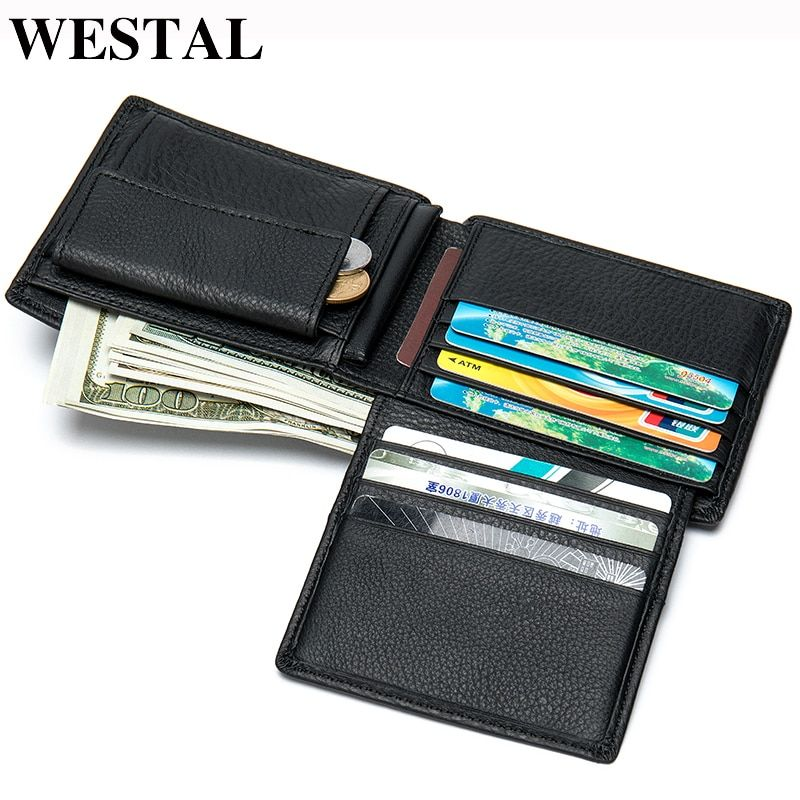 WESTAL 100% Genuine Leather Men Wallet Credit Card Holder Coin Purse Men For Card Leather Wallets Men Leather Cards 8063