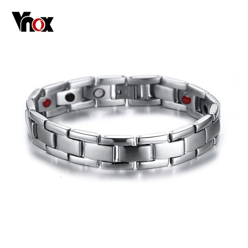 Vnox Health Care Bracelet Bangle Magnet Germanium Titanium Metal Men Jewelry