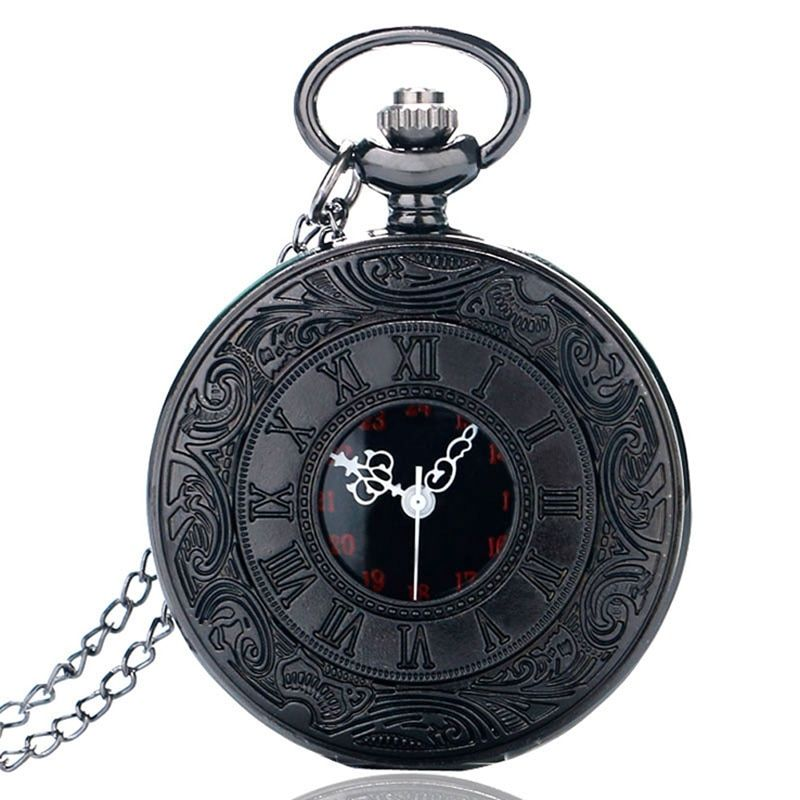 Fashion Black Retro Bronze Roman Dial Quartz Vintage Antique Pocket Watch 80cm Chain Necklace Pendant Watches Gift for Men Women