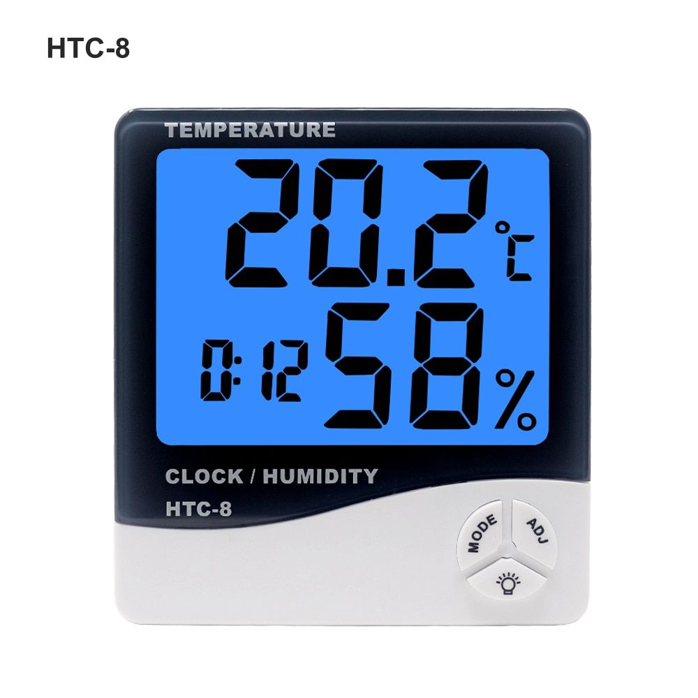 HTC-1 HTC-8 Digital Indoor Thermometer Hygrometer Weather Station Alarm Clock Room Wall Electronic Temperature Humidity Tester