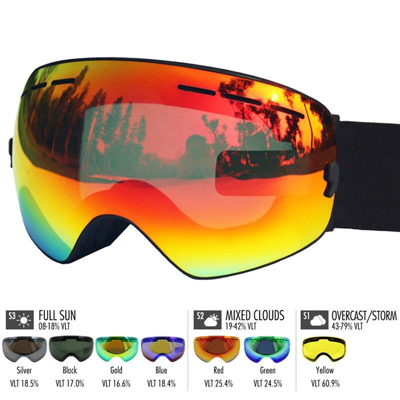 LOCLE Ski Glasses Double Layers UV400 Anti-fog Ski Goggles Snow Skiing Snowboard Motocross Goggles Ski Masks or Eyewear