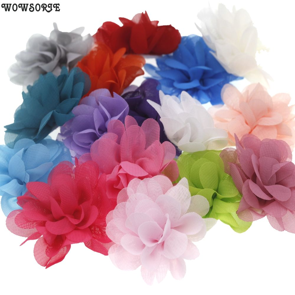 5cm baby  Mini DIY Flowers Kids Boutique Chiffon Flowers without headband No clips Wedding girls Hair Accessories 20pcs/lot