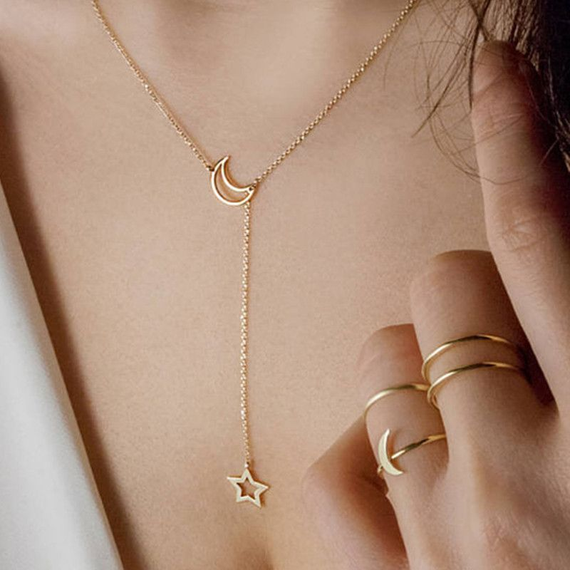 2019 Fashion Heart Leaf Star Moon Necklace Crystal Pendant Necklace Chain Round Coin Women Statement Jewelry Wholesale Necklaces