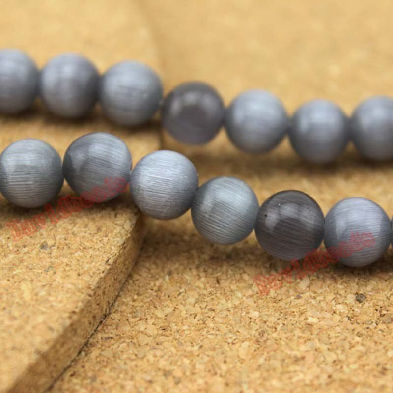 Fctory Price Gray Opal Cat Eye Natural Round Loose Stone Beads 40cm Strand 6 8 10 12mm For Jewelry Making DIY