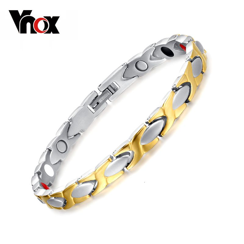 Vnox 100% Titanium Bracelet Bangle for Women Health Care Magnetic Germanium free Gift Box