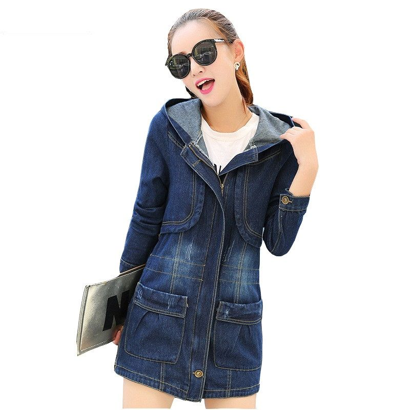 Spring Autumn Women Denim Jacket Loose Hooded Jeans Outerwear Casual Tops Plus Size 5XL Female Denim Jackets Women Basic Coats