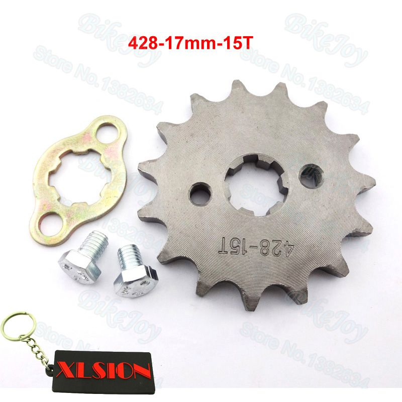 428 15 T Tooth 17mm ID Front Engine Sprocket for 125cc 160cc Dirt Pit Bike ATV Quad Go Kart Motor Moped Buggy Scooter Motorcycle