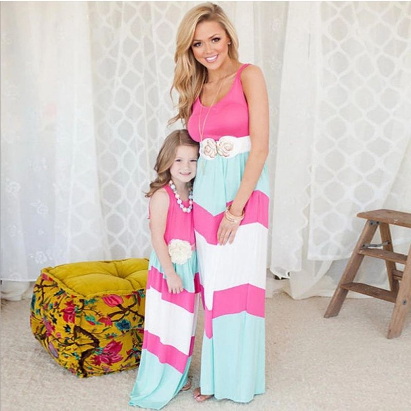 Trendy Mother and Daughter Boho Stripe Maxi Dress mommy me matching set Kids outfits Casual A-Line Dress Ankle-Length