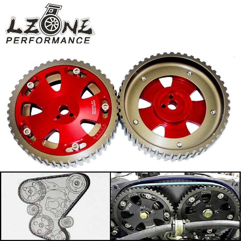 LZONE - 2pcs Cam Gears Pulley For MITSUBISHI EVO 1 2 3 4 5 6 7 8 9 ECLIPSE 4G63 RED JR6538R