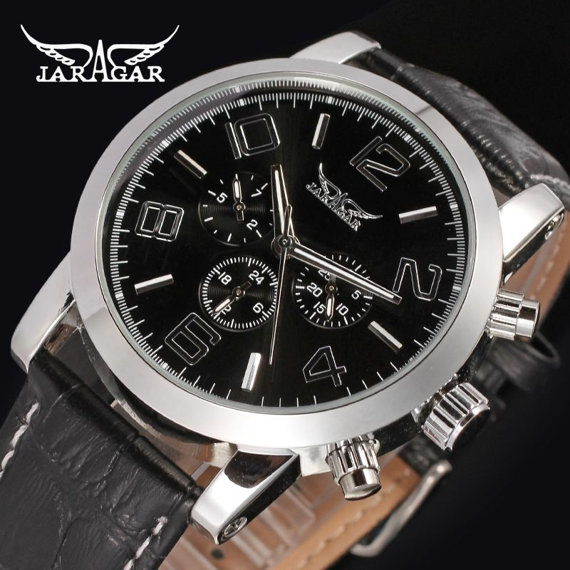 JARAGAR Men Luxury Automatic Mechanical Watch Big Number Leather WristWatch Gift Box Relogio Releges