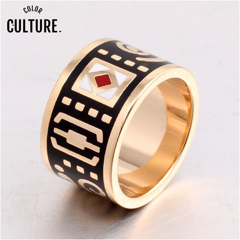 The New High-end Retro Classic Stainless Steel Ring Black Rings for Women Clothing jewelery Enamel Ring Wholesale